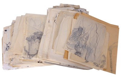 Lot 673 - A LARGE GROUP OF JAPANESE INK PAINTINGS AND THREE HANGING SCROLLS.