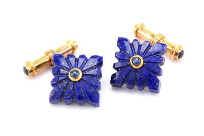 Lot 14A-A pair of lapis lazuli and sapphire cufflinks,...