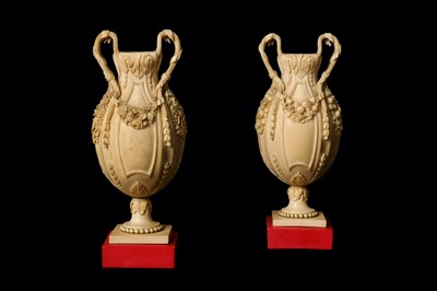 Lot 8-A FINE PAIR OF 19TH CENTURY DIEPPE IVORY VASES...