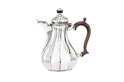 Lot 242-A late 18th century German silver bachelor coffee pot (verseuse égoiste), probably Uberlingen circa 1780 by MFL with a device (untraced)