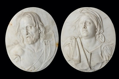 Lot 22-A PAIR OF ITALIAN 18TH CENTURY MARBLE RELIEFS...