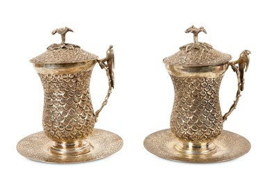 Lot 81 - A PAIR OF EGYPTIAN SILVER SAHLEP CUPS