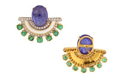 Lot 6-A pair of enamel, emerald, tanzanite and diamond earrings