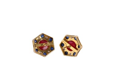 Lot 23 - A pair of spinel, sapphire and diamond earstuds