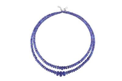 Lot 44 - A tanzanite and diamond necklace