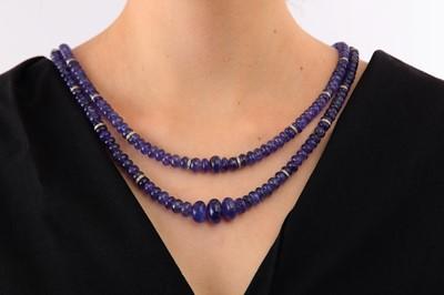 Lot 44-A tanzanite and diamond necklace