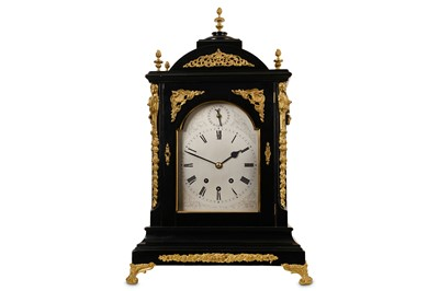 Lot 45-A 19TH CENTURY EBONISED AND GILT BRASS MOUNTED MUSICAL QUARTER CHIMING BRACKET / TABLE CLOCK