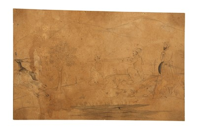 Lot 29-THREE MUGHAL-REVIVAL HUNTING SCENES PROPERTY OF THE LATE BRUNO CARUSO (1927 - 2018) COLLECTION