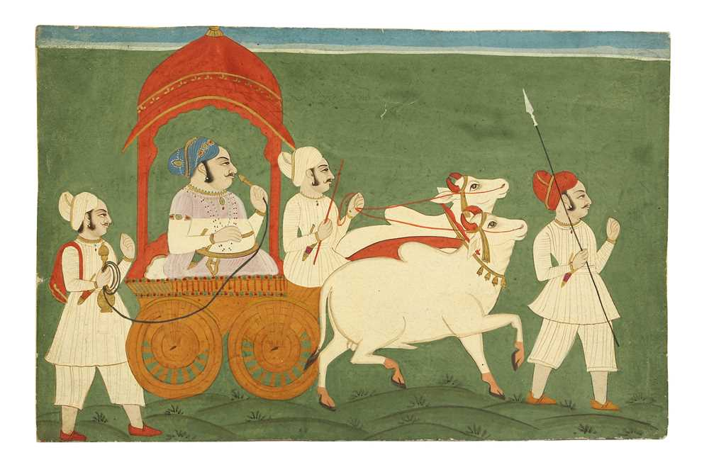 Lot 9 - A RAJPUT RULER ON A CART PULLED BY WHITE BULLS PROPERTY OF THE LATE BRUNO CARUSO (1927 - 2018) COLLECTION