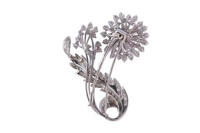 Lot 5-A diamond flower brooch