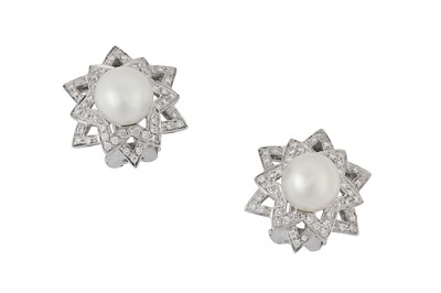 Lot 45 - A pair of cultured pearl and diamond earclips