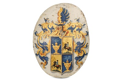 Lot 9-A MID 18TH CENTURY GERMAN OR DUTCH PAINTED METAL...