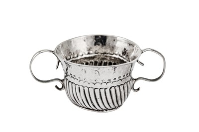 Lot 236 - A rare Queen Anne Britannia standard silver 'toy' miniature twin handled porringer or caudle cup, n 1703 by Matthew Pickering (reg. 23 Sep 1703)