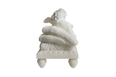 Lot 62 - A LATE 19TH CENTURY ITALIAN ALABASTER FIGURAL GROUP OF VENUS AND CUPID IN THE MANNER OF CANOVA
