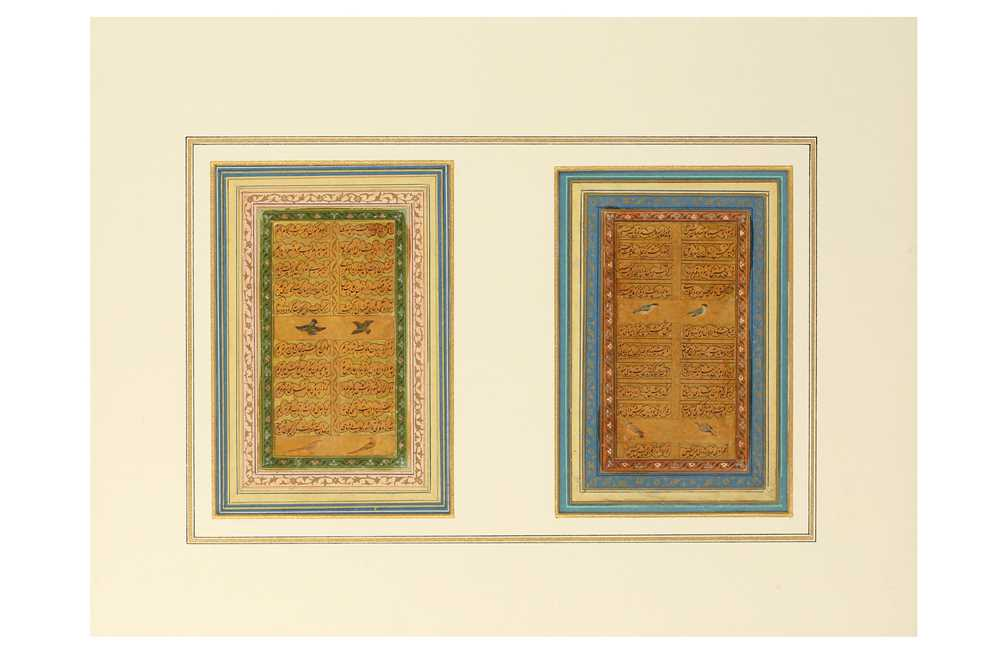 *TWO FOLIOS FROM A MUGHAL MANUSCRIPT OF SONNETS BY 'SHAHI' India, 17th...