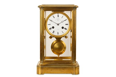 Lot 28-A THIRD QUARTER 19TH CENTURY FRENCH GILT BRONZE FOUR GLASS MANTEL CLOCK GIVEN BY NAPOLEON III, BY DETOUCHE A PARIS
