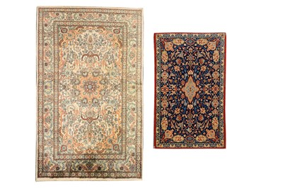 Lot 61-AN EXTREMELY FINE PART SILK ISFAHAN RUG & VERY FINE CHINESE SILK RUG