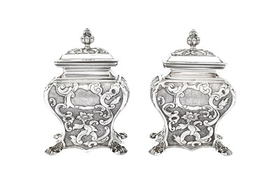 Lot 246-A pair of mid-19th century Austrian 13 loth (812 standard) silver tea caddies, Vienna 1838 by TSM CK (?)