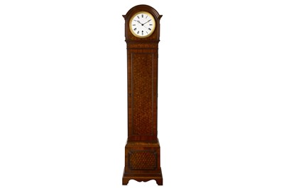 Lot 44-LATE 19TH / EARLY 20TH CENTURY FRENCH MINIATURE PARQUETRY INLAID LONGCASE CLOCK