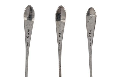 Lot 349 - A set of three George III Scottish provincial silver toddy / cream ladles, Dundee circa 1796-1820 by James Douglas