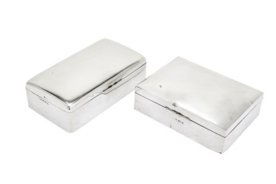 Lot 369 - Two George V sterling silver cigarette cases, one Birmingham 1912 by Wilmot Manufacturing Co