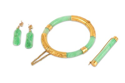 Lot 44-A small collection of jade jewellery