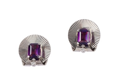 Lot 1 - A pair of amethyst earclips, by Tiffany & Co., circa 1945