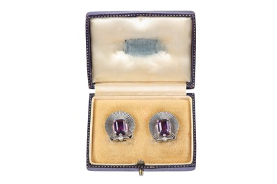 Lot 1-A pair of amethyst earclips, by Tiffany & Co., circa 1945