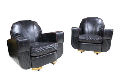 Lot 25 - A PAIR OF ART DECO PERIOD CLUB ARMCHAIRS IN DISTRESSED LEATHER