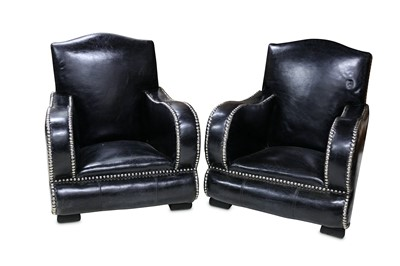 Lot 29 - A PAIR OF ART DECO STYLE ARMCHAIRS, MID 20TH CENTURY