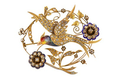Lot 16-A rose-cut diamond and enamel en tremblant brooch