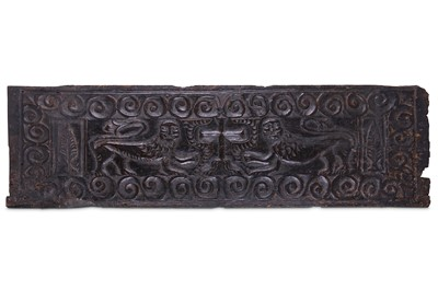 Lot 44-AN EARLY MEDIEVAL CARVED WOOD RELIEF PANEL...