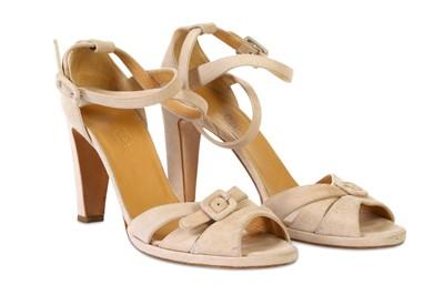 Lot 93-Hermès Nude Suede Sandals - Size 37