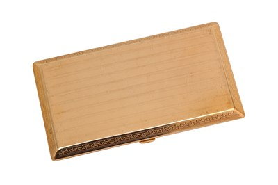 Lot 201-A George V 9 carat gold cigarette case cigarette case, London 1917 by Goldsmiths and Silversmiths