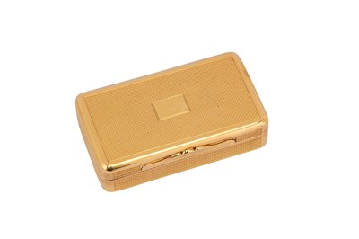 Lot 202-A George IV 18 carat gold snuff box, London 1824 by Charles Rawlings (this mark reg. 28th Oct 1819)