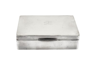 Lot 38a-A George V sterling silver cigarette box, Birmingham 1914 by William Neale & Son