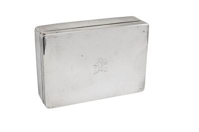 Lot 10-A George V sterling silver cigarette box, Birmingham 1914 by William Neale & Son