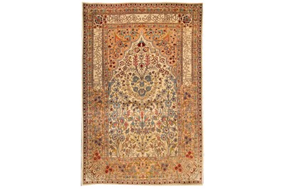 Lot 5-AN EXTREMELY FINE SILK HEREKE PRAYER RUG, TURKEY