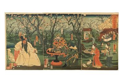 Lot 636 - JAPANESE WOOD BLOCK PRINTS BY KUNIYOSHI (1798 - 1861).