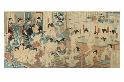 Lot 646 - JAPANESE WOODBLOCK PRINTS BY KUNICHIKA (1835 - 1900).
