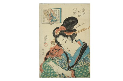 Lot 630 - A JAPANESE WOODBLOCK PRINT BY KEISAI EISEN (1790 - 1848).