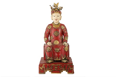 Lot 450 - A VIETNAMESE LACQUERED WOOD FIGURE.