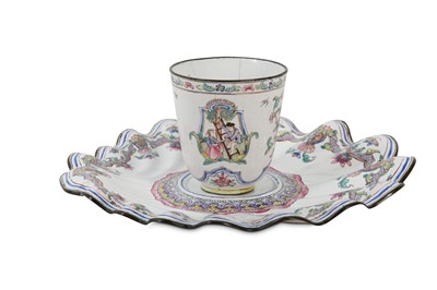 Lot 94 - A CHINESE CANTON ENAMEL FAMILLE ROSE 'CHERRY PICKERS' CHOCOLATE CUP AND TREMBLEUSE STAND.