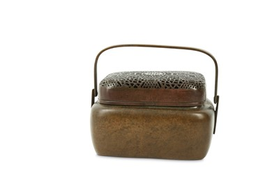 Lot 24 - A CHINESE BRONZE HAND WARMER AND COVER.