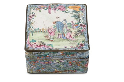 Lot 95 - A CHINESE CANTON ENAMEL FAMILLE ROSE 'LADIES AND BOY' BOX AND COVER.