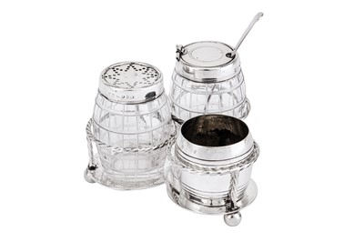 Lot 220-A Victorian sterling silver novelty breakfast cruet, London 1874 by Thomas Bradbury & Sons