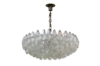 Lot 36-A large hand blown glass chandelier in the style of Carlo Scarpa for Venini
