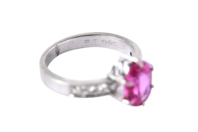 Lot 15-A pink sapphire and diamond ring