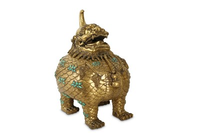 Lot 387 - A CHINESE GILT-BRONZE TURQUOISE-INLAID 'LUDUAN' INCENSE BURNER.