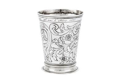 Lot 247-A late 19th century Austrian 800 standard silver beaker, Vienna circa 1881 by JCK for Joseph Carl Klinkosch (b. 1822, master 1843, d. 1888)